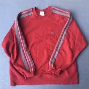 Burgundy and Gray adidas crewneck sweater